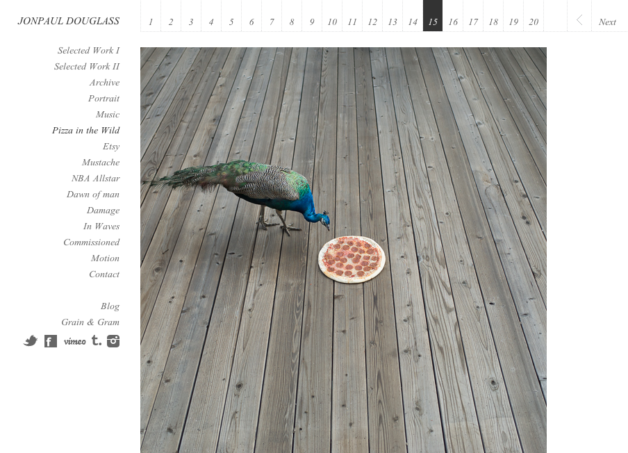 "Screen Shot of JonPaul Douglass's website featuring ""Pizza in the Wild"""
